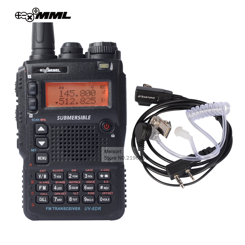 MML UV-8DR Tri-Band UHF VHF Handheld Two Way Radio Station Best Long Range Walkie Talkie with Headset CB Walky Talky Transceiver(China (Mainland))