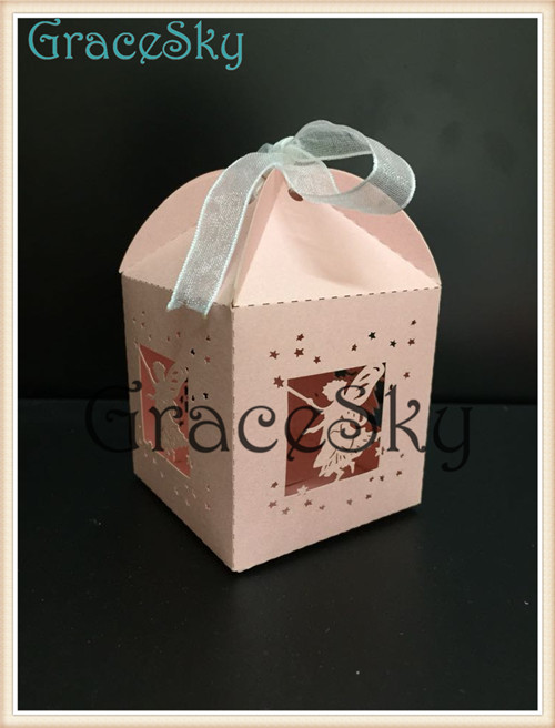 100PCS Wholesale Laser Cutting Lovely Fairy Gift Candy Favor Boxes for Wedding Decorations(China (Mainland))