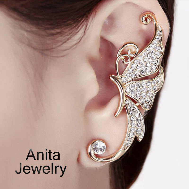 New Earring Jackets for women,Ctystal ear clip,Beautiful butterfly, 18k gold plated, luxurious style, jewelry wholesale JD234(China (Mainland))