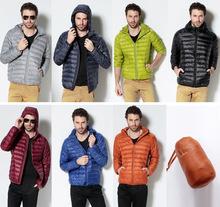 Down Parka Men 2016 Spring Hooded Duck Down Coat Ultra Light Male Winter Warm Jacket Warm Solid Down Snow Wear Black Plus XXXL