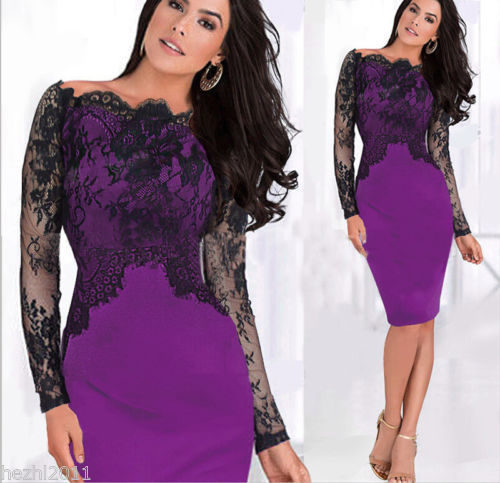 2014 Sexy Women Classy Lace Off Shoulder Pencil Dress Slim Formal Cocktail Prom Party Dress(China (Mainland))