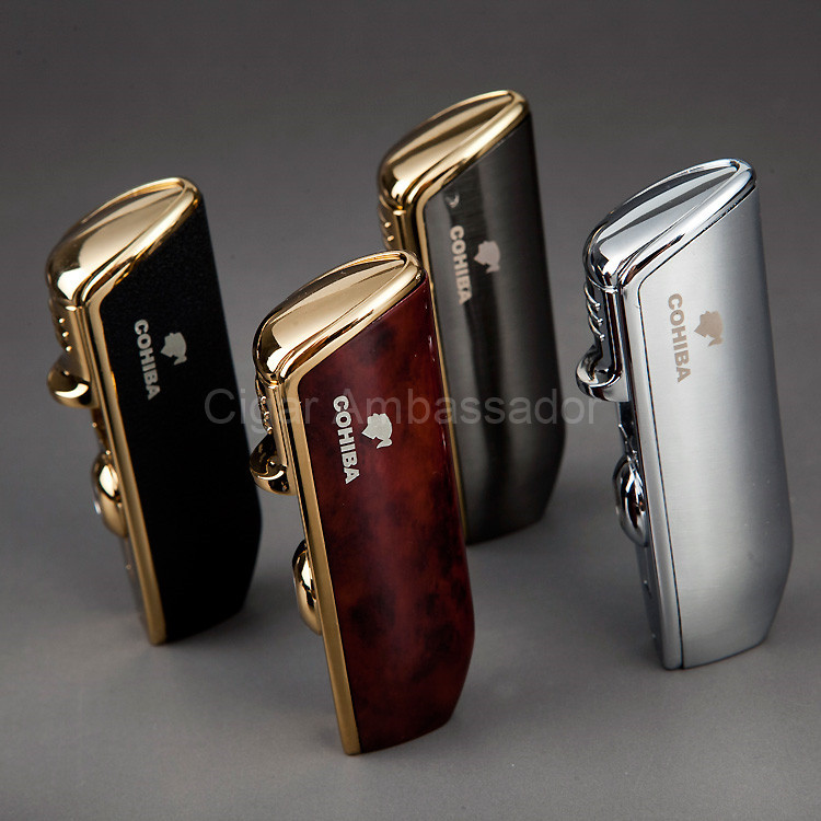 COHIBA Mini Gadgets Snake Mouth Shape Metal Windproof 3 Torch Jet Flame Gas Cigarette Cigar Lighter with Punch(China (Mainland))