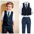 babzapleume Brand Kids Boy Clothes Gentleman Long Sleeve Shirt Pant Vest Tie 4PCS Set Wedding Children