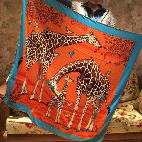giraffe cartoon Large size Women Square Shawl,100% Silk Twill Satin Lady Scarf, High-grade Women's Printed Scarves,130*130CM
