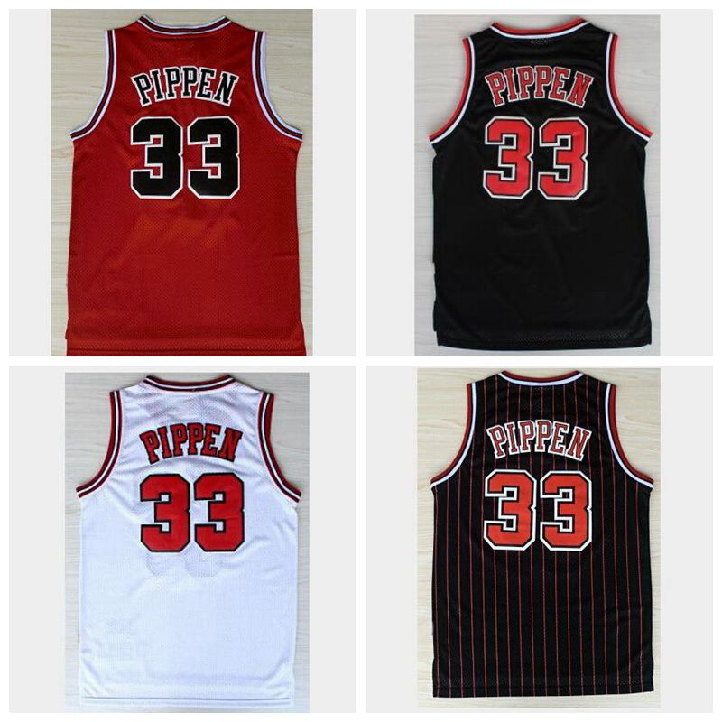 Top Quality Men's #33 Scottie Pippen Jersey Black White Red Double Stitched Throwback Basketball Jerseys Free shipping(China (Mainland))