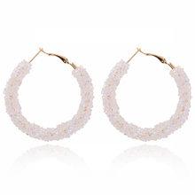 Alloy C-shaped Semi-circular Earrings 2019 New Fashion Rhinestone Crystal Hoop Earrings Charm Female Wedding Jewelry Girl Gift(China)