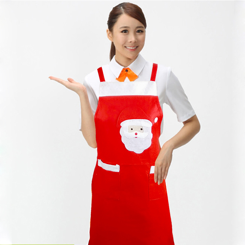 2pcs Christmas Decoration Santa Noel Apron Home Kitchen Cooking Baking Chef Red Apron Size Adult Xmas Dinner Party Apron(China (Mainland))