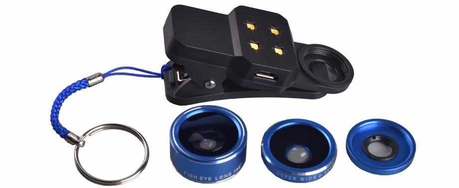 3in1 LED Flash light + Wide Angle Macro 198 Degree Fisheye Lentes Mobile Phone Lenses For Meizu m3e m2 mini m3s mx4 m3 m2 note