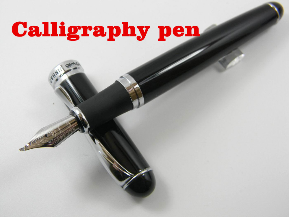 Jinhao 750 Black Lacquered With Silver Trim Calligraphy