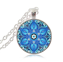 Buy Hindu Jewelry Blue Lotus Mandala Necklace Om Necklace Glass Dome Yoga Pendant Fashion Choker Necklace Buddhism Women Gifts for $2.99 in AliExpress store