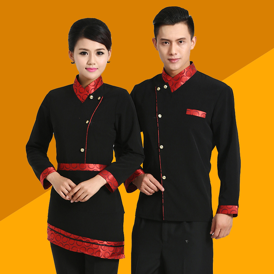 Black Chef Jacket Hotel Restaurant Work Wear Long Sleeved Autumn Winter Chef Waiter Uniform for Men and Women 1pc 3color(China (Mainland))