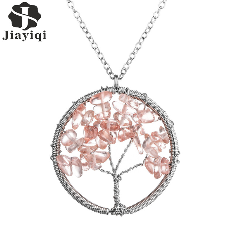 Female Charm Jewelry Tree of Life Pendant Necklace For Women Graceful Natural Stone Round Shape Pink Collares Accessory(China (Mainland))