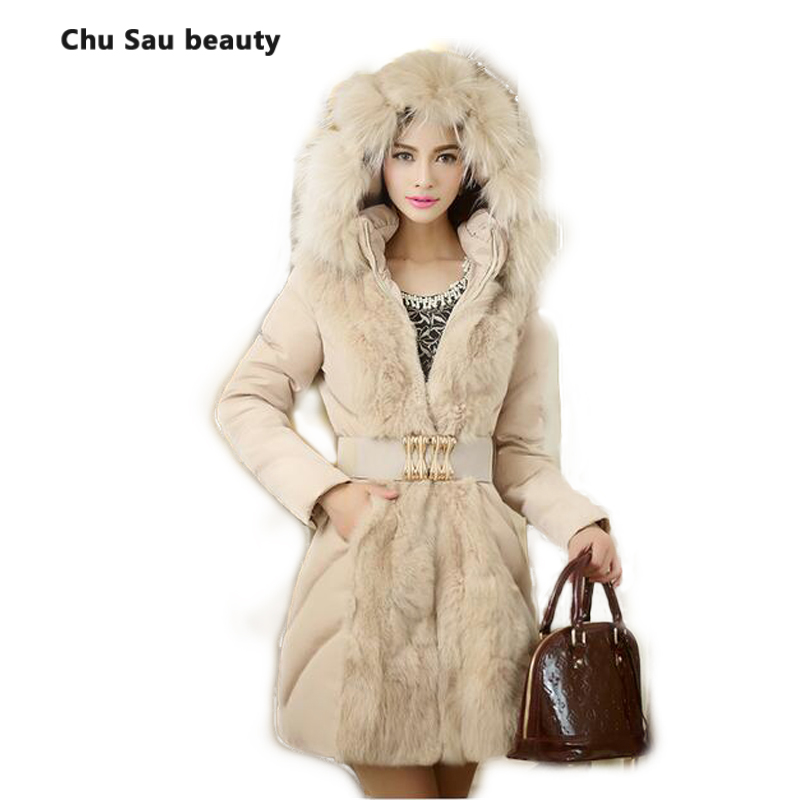 2016 Special Offer Promotion Slim Long High Quality Large Raccoon Collar Duck Down Jacket Women's Medium-long For Winter Coat(China (Mainland))