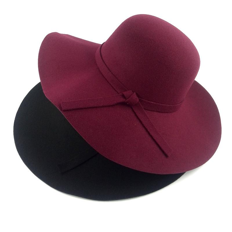 2016 red black women female lady fashion wool cotton wide brim felt floppy fedora church hats with bowknot for black women(China (Mainland))