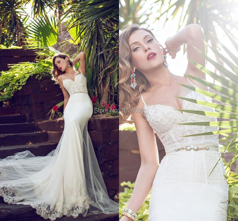 Wedding Dress 2014 Julie Vino Mermaid Dresses Appliques Chiffon vestido de noiva Backless Removable Tulle Train