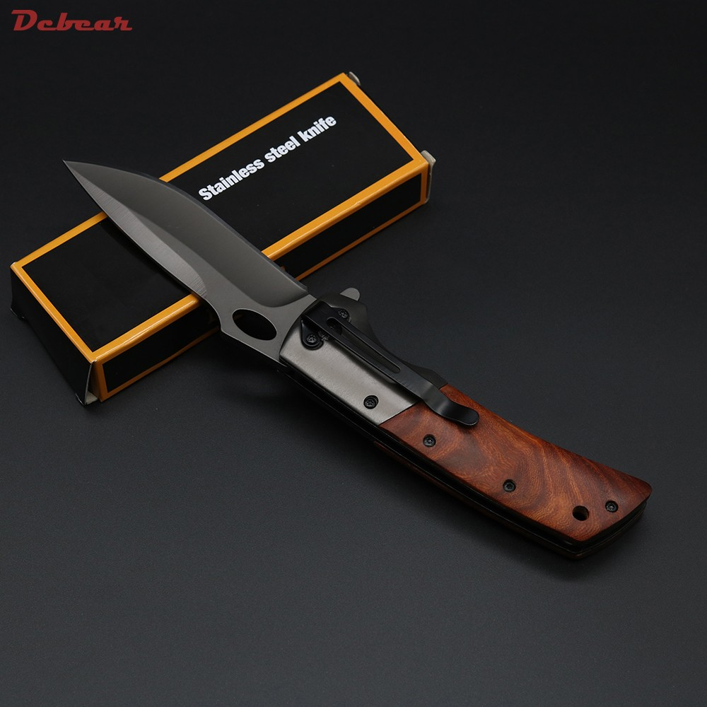 Buy Dcbear DA62 Camping Tactical Knife Folder 440C Steel Blade Hardness 58HRC Wood+Steel Handle Outdoor Tops Knife cheap