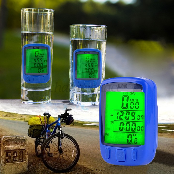 Waterproof Digital Bicycle Bike Cycle LCD Computer Speedometer Odometer Green LED Backlight Blue 34 - Championacc 2013 store