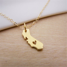 America State Necklaces With Heart DIY Map pendant Necklace California State Pendent & Necklace
