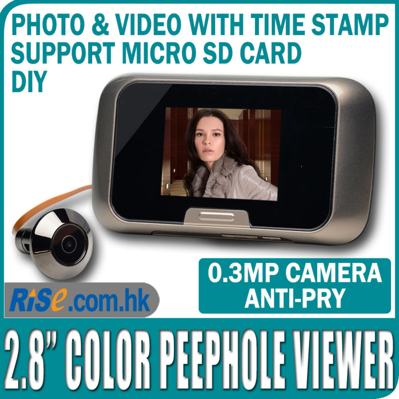 "2.8"" Camera Door EQUES Photo Video 0.3MP Color SD Card Digital Peephole Viewer(Hong Kong)"