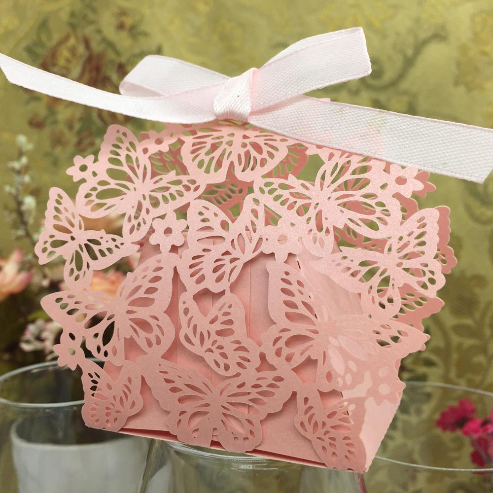 20pcs Romantic Wedding Party Decor Butterfly DIY Candy Cookie Gift Boxes Bags Wedding Birthday Candy Box with Ribbon 2 Colors(China (Mainland))