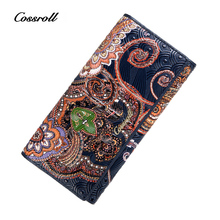 Buy COSSROLL Genuine Leather Wallet Women Clutch Wallets Fashion Designer Floral Lady Purse Long Cards Coin Zip Purse Female Wallet for $10.84 in AliExpress store