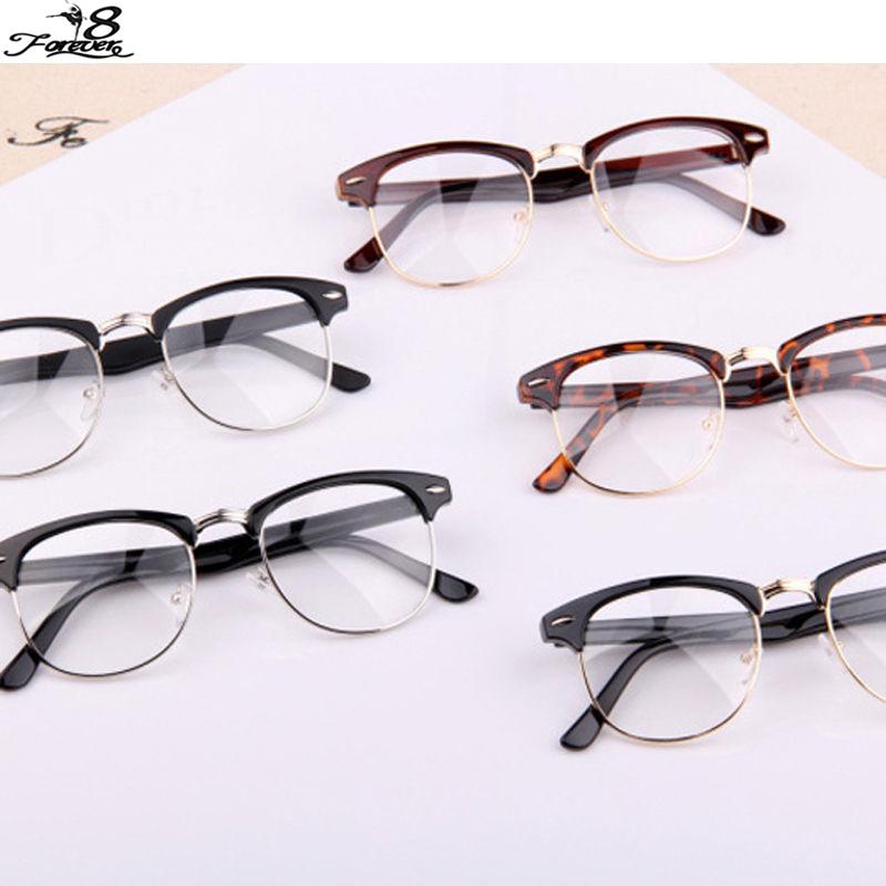 1 pcs Classic Retro Clear Lens Nerd Frames Glasses Fashion brand designer Men Women Eyeglasses Vintage Half Metal Eyewear Frame(China (Mainland))
