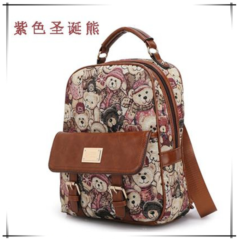 Bear backpack fashion institute of female college students backpack travel packages wind restoring ancient ways fresh package(China (Mainland))