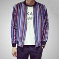 Korean color striped cotton baseball style spring jacket coat men vertical stripe jacket