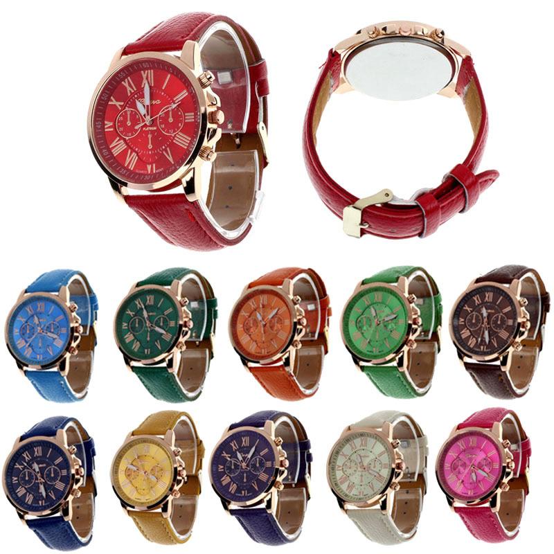 2015 New Fashion Geneva Roman Numerals Faux Leather Analog Quartz Watch Women Watches Wrist Watch Gofuly(China (Mainland))
