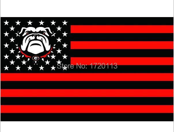 Georgia Bulldogs with USA Stripe Star Banner Fan Flag 3X5FT Custom NCAA Flag 90x150cm metal grommets(China (Mainland))