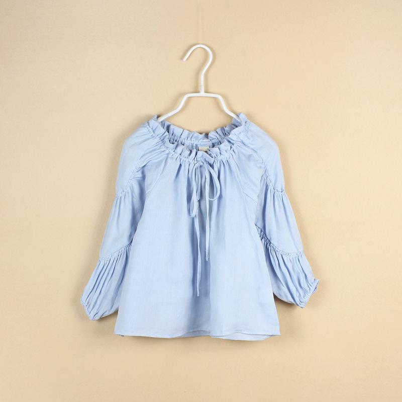 Baby Girls Ruffle Cotton Shirts Kids Girl Fall Puff Sleeve Blouses 2015 Girl Princess Jumper Top Shirt babies Korean Style cloth<br><br>Aliexpress