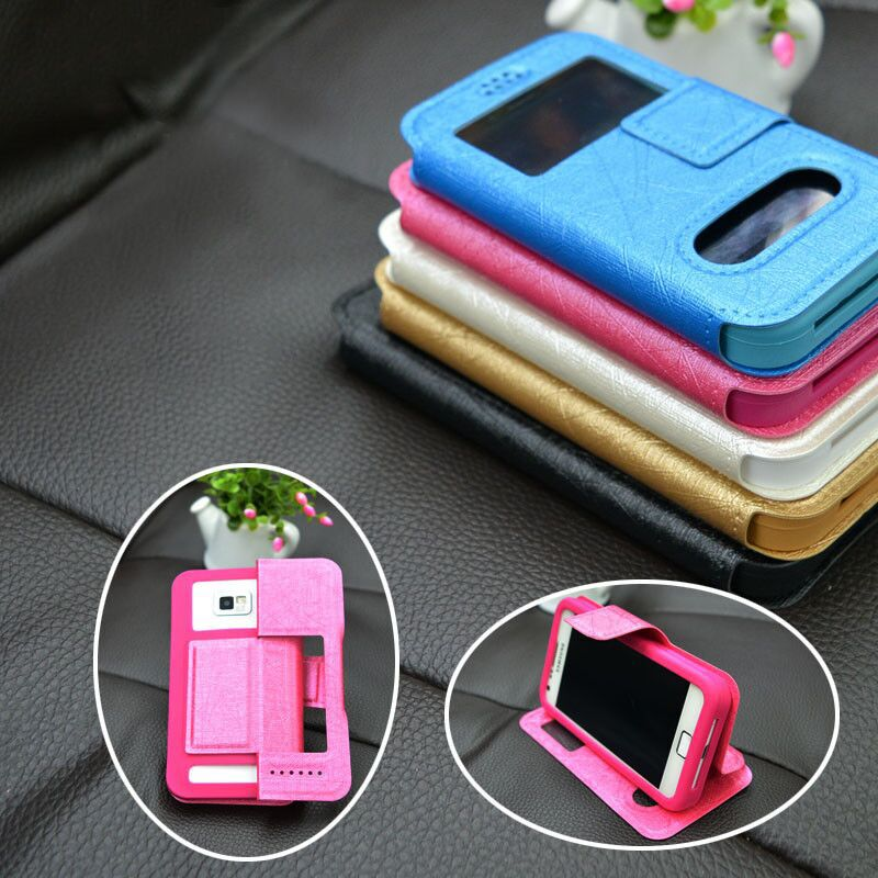 For LG L70,D320,L70 Tri,D340 Case new fashion silicone phone cover leather case4 with double windows view fashion holder(China (Mainland))