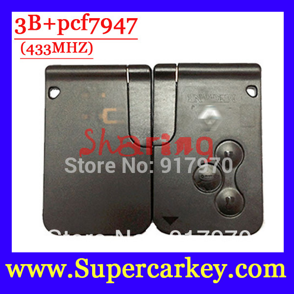 Free Shipping  (5pcs/lot) 3 button Smart Car for Renault  Megane Scenic Smart key with PCf7947 chip  and Emergency Key 433MHZ