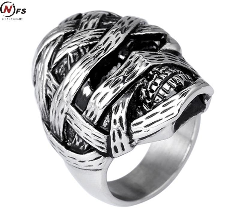 New Stainless Steel Silver Mens Skull Head Biker Finger Rings Gothic Punk Style Head Injuries Cheap Skeleton Jewelry(China (Mainland))
