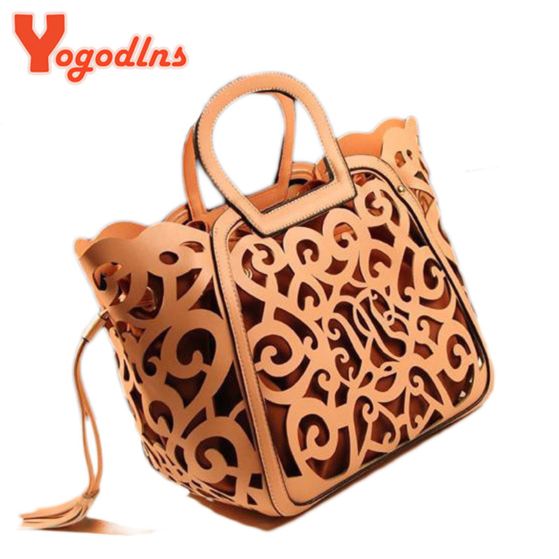 New arrived hot sale Retro carved hollow fringed bag cutout big bag shoulder bag fashion bags(China (Mainland))