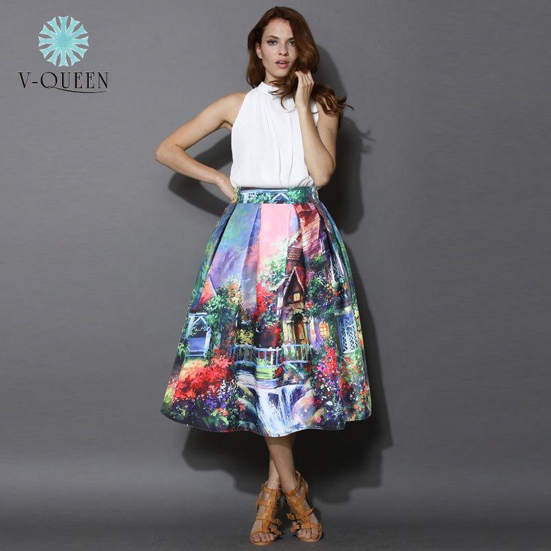 Women's Skirt New Fashion 2015 Autumn Winter Vintage Print Ball Gown Pleated High Waist Midi Skirt Saia For Women Girl A141208(China (Mainland))
