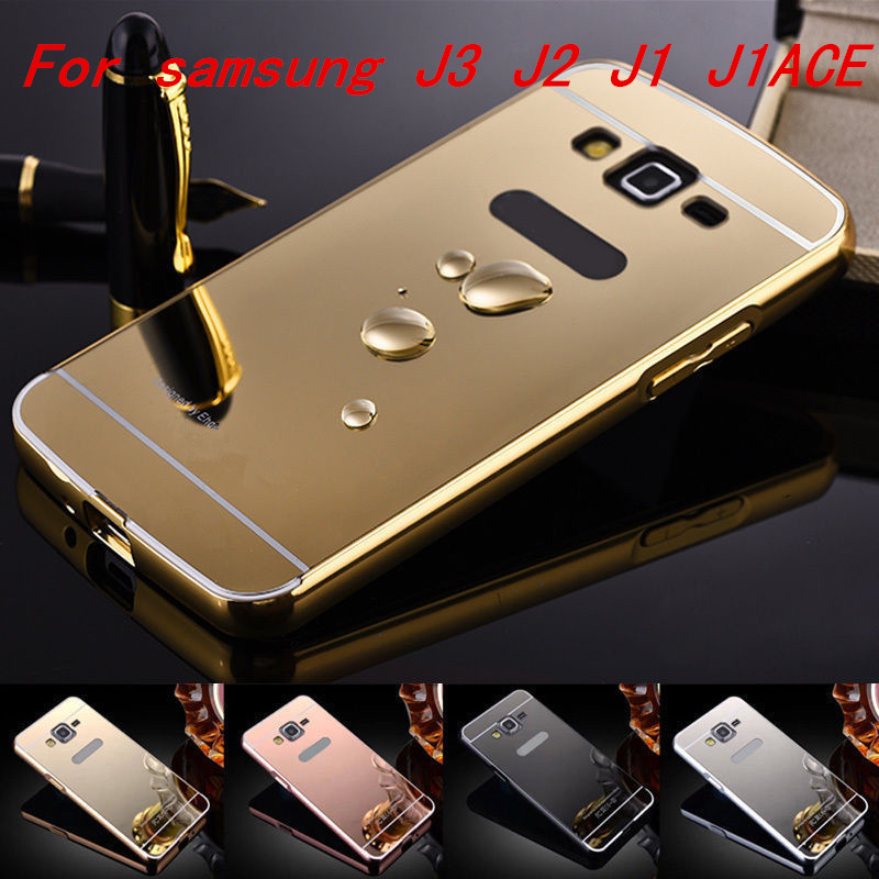 Gold Plated Metal Aluminum + Acrylic Mirror Back Bumper Case Samsung Galaxy J3 / J2 J1 Ace Hybrid Cover Cases - ko yo store