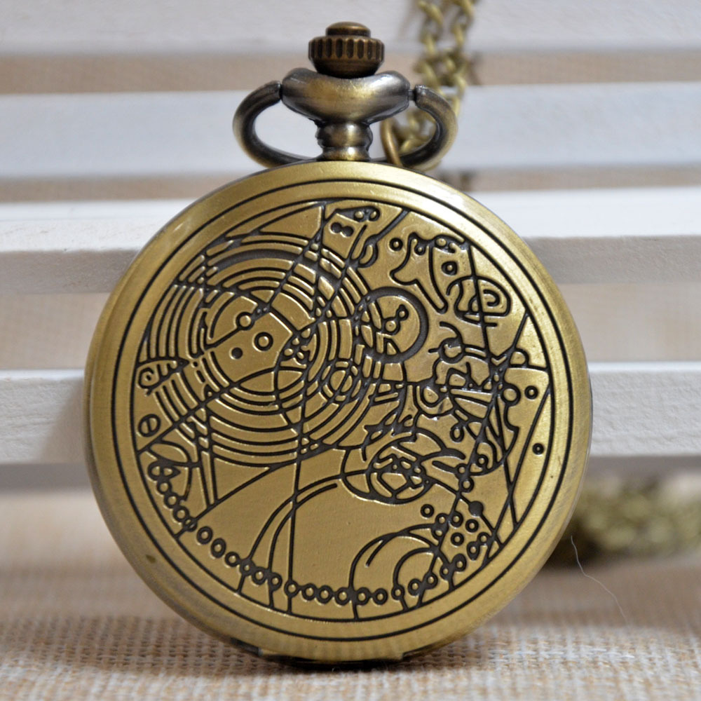Retro Bronze Doctor Who Pattern Compass Quartz Pocket Watch Analog Pendant Necklace Mens Womens Gifts P063(China (Mainland))