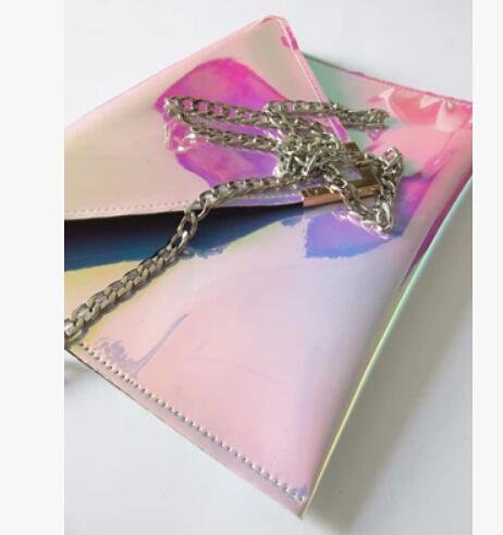 Fahsion Rainbow Magic Color Laser Bags Hologram Envelope Bag Day Clutch Evening Handbag Women's Hologram Shoulder Message Bag(China (Mainland))