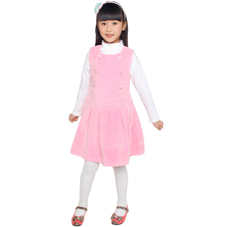 2015 spring and autumn new style baby girls fashion dress little girls solid color a line dress YGL30199(China (Mainland))