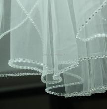Weiß/Elfenbein 2-lagen Ellenbogen Länge Strass Kante Hochzeit Brautschleier mit Kamm(China (Mainland))