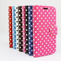 Luxury PU leather case for Samsung galaxy SIV I9500 flip case cover for S4 shockproof leather screen protector with fashion dots