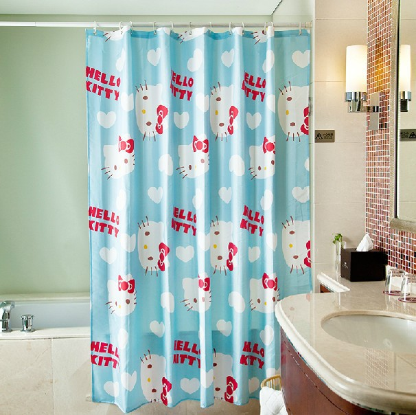 Cortinas De Baño De Kitty:Cute Kids Shower Curtains