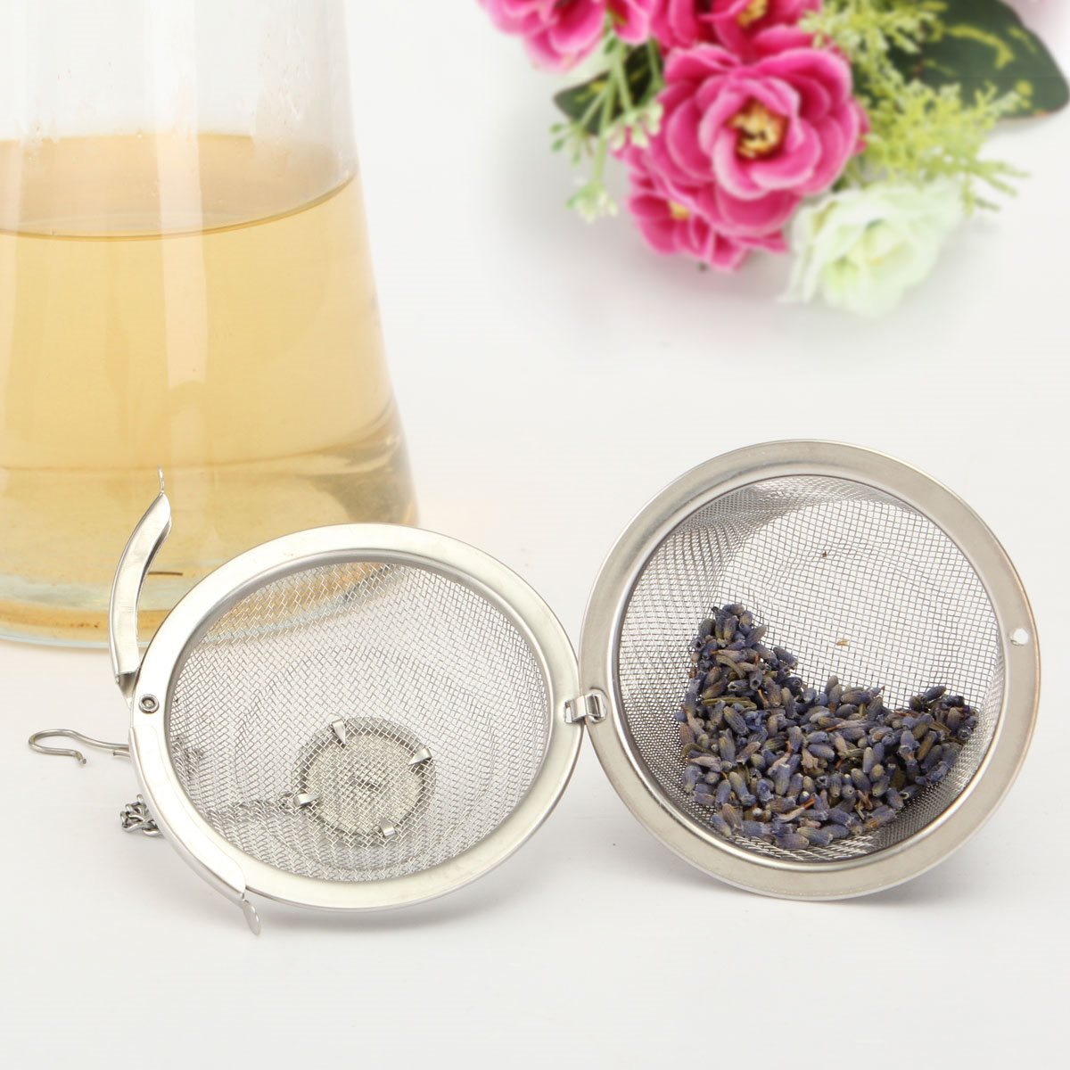Durable 4.5cm Silver Reusable Stainless Mesh Herbal Ball Tea Spice Strainer Teakettle Locking Tea Filter Infuser Spice S Size