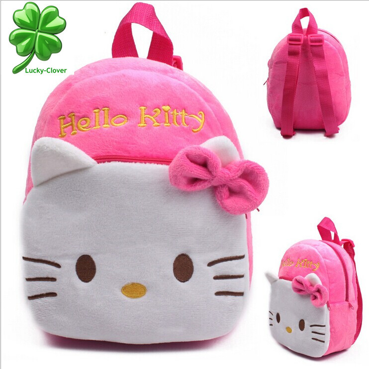 Hot! 1-2 years old small children's plush Hello Kitty bow backpack Kid's Child baby girls cute preschool candy toy bags mochilas(China (Ma