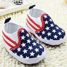 Baby 0-18Months First Walker Shoes Toddler Unisex Girls Boy Star Plaids Print Anti-slip Slip-on Canvas Crib Shoes(China (Mainland))