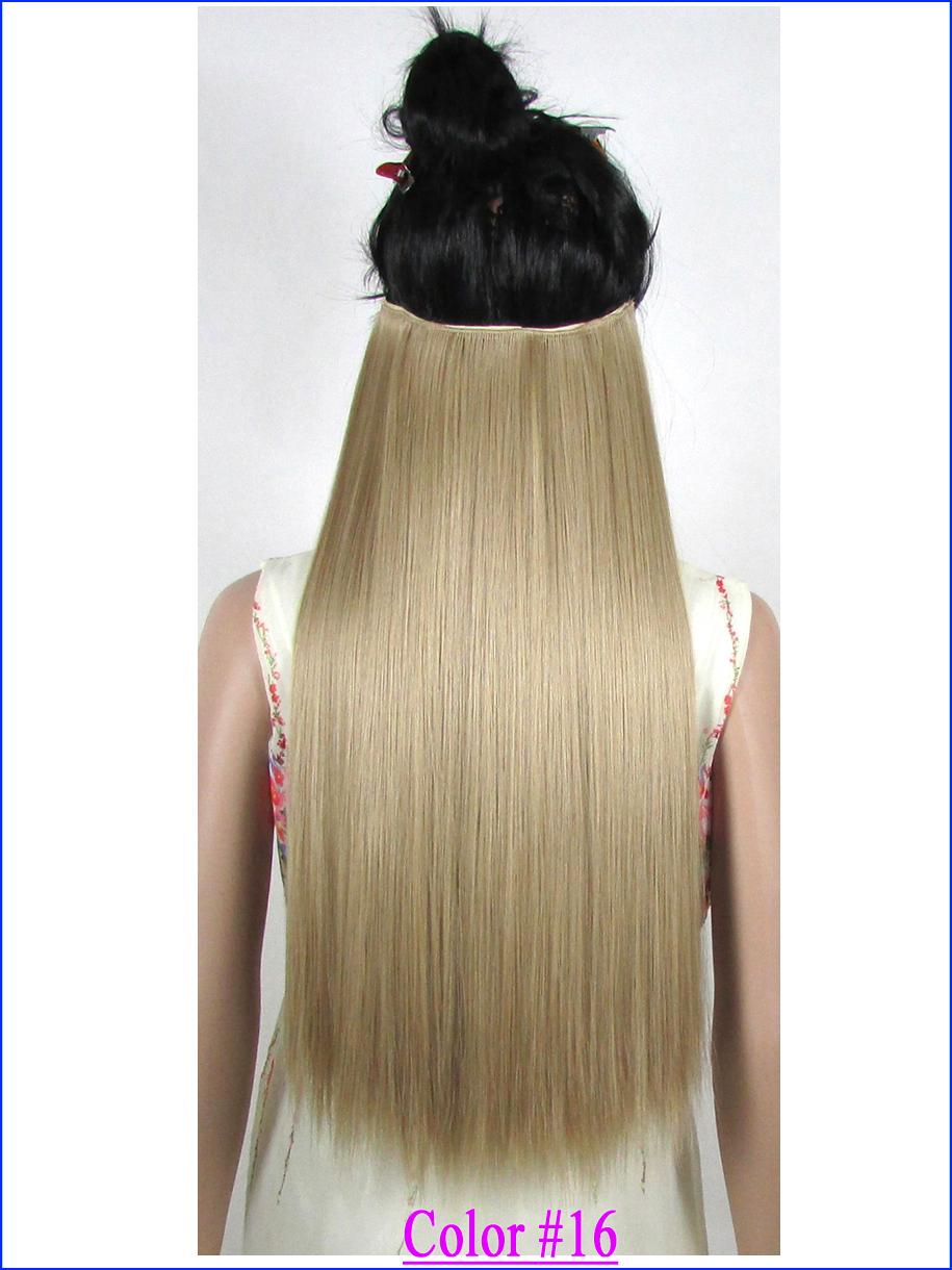 "Гаджет  24""(60cm) 120g Japan High Temperature Fiber clip in hair extensions straight hair extension Color #16 Ash Blonde None Волосы и аксессуары"
