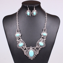 Antique Silver Plated Turquoise Jewelry Set Vintage Tibet Silver Necklace Earring Set For Women MN101430(China (Mainland))