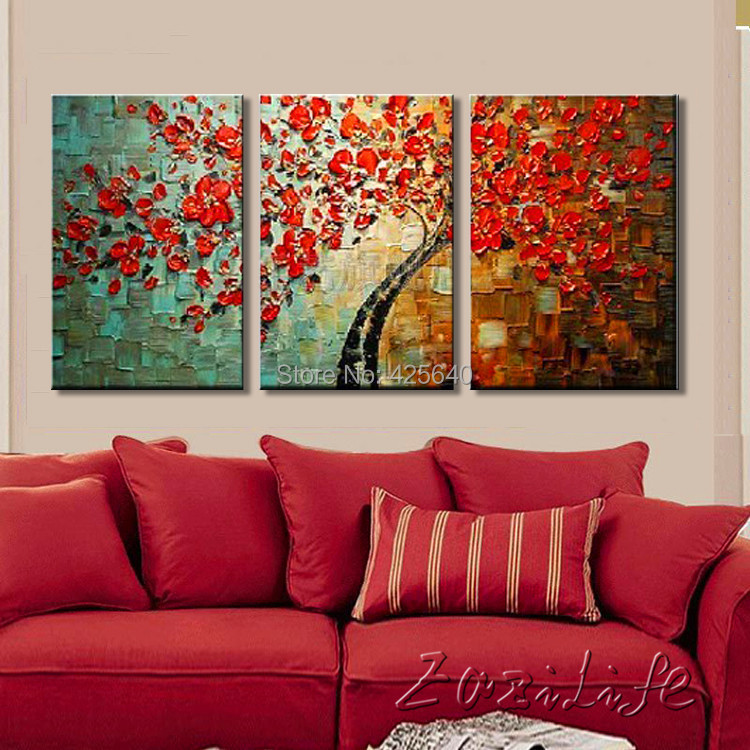 Buy Oil Painting On Canvas Wall Paintings For Living Room Multi 3 Piece Panel