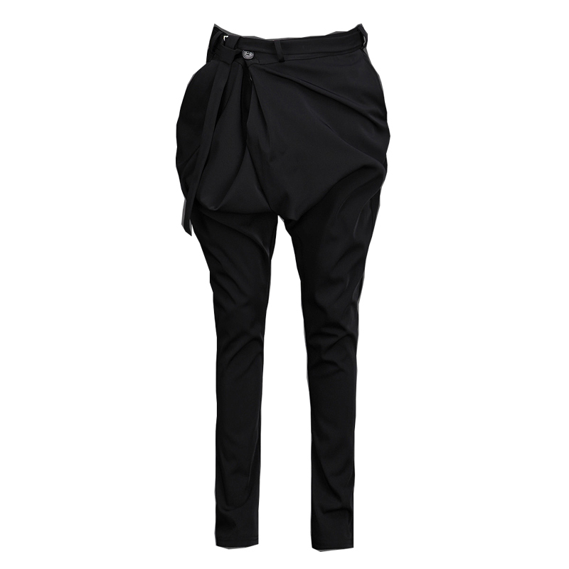 Korean Design Harem Pants Slim Fit Male Skinny Casual Plus Size Trousers Big Drop Crotch Black Super Hot Cool Men's Bloomers(China (Mainland))